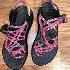 Pink and Black Chacos